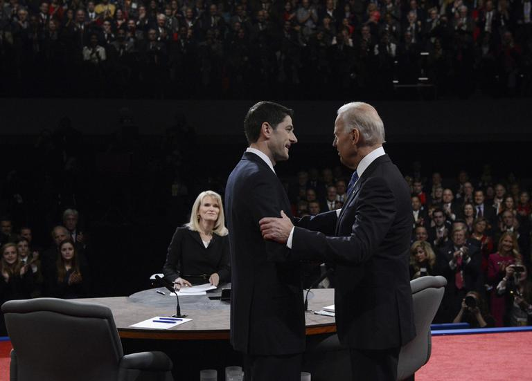 Vice President Joe Biden and Republican vice presidential nominee Rep. Paul Ryan oshake hands before the vice presidential debate at Centre College in Danville, Ky on Thursday. (Michael Reynolds/AP-Pool)