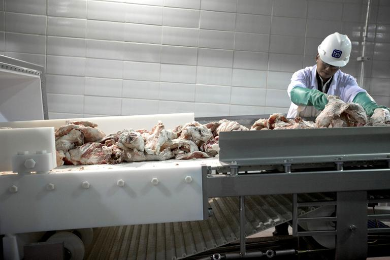 A worker sorts cuts of beef at a plant in Nebraska in March. A new report says for-profit companies are quietly taking over food safety inspections. (AP/Nati Harnik)