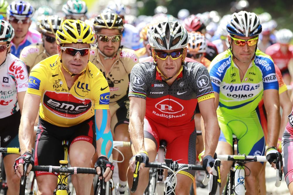 Lance Armstrong leads the pack in the 2010 Tour de France. USADA released evidence this week suggesting his involvement in an extensive doping scheme. (AP/Bas Czerwinski)