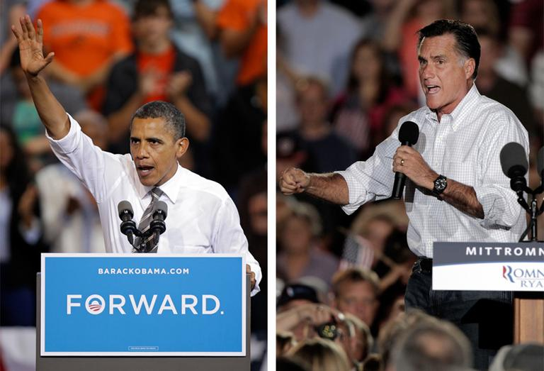 President Obama and Republican Mitt Romney both campaign in the battleground state of Ohio, in this September file photo. (AP)