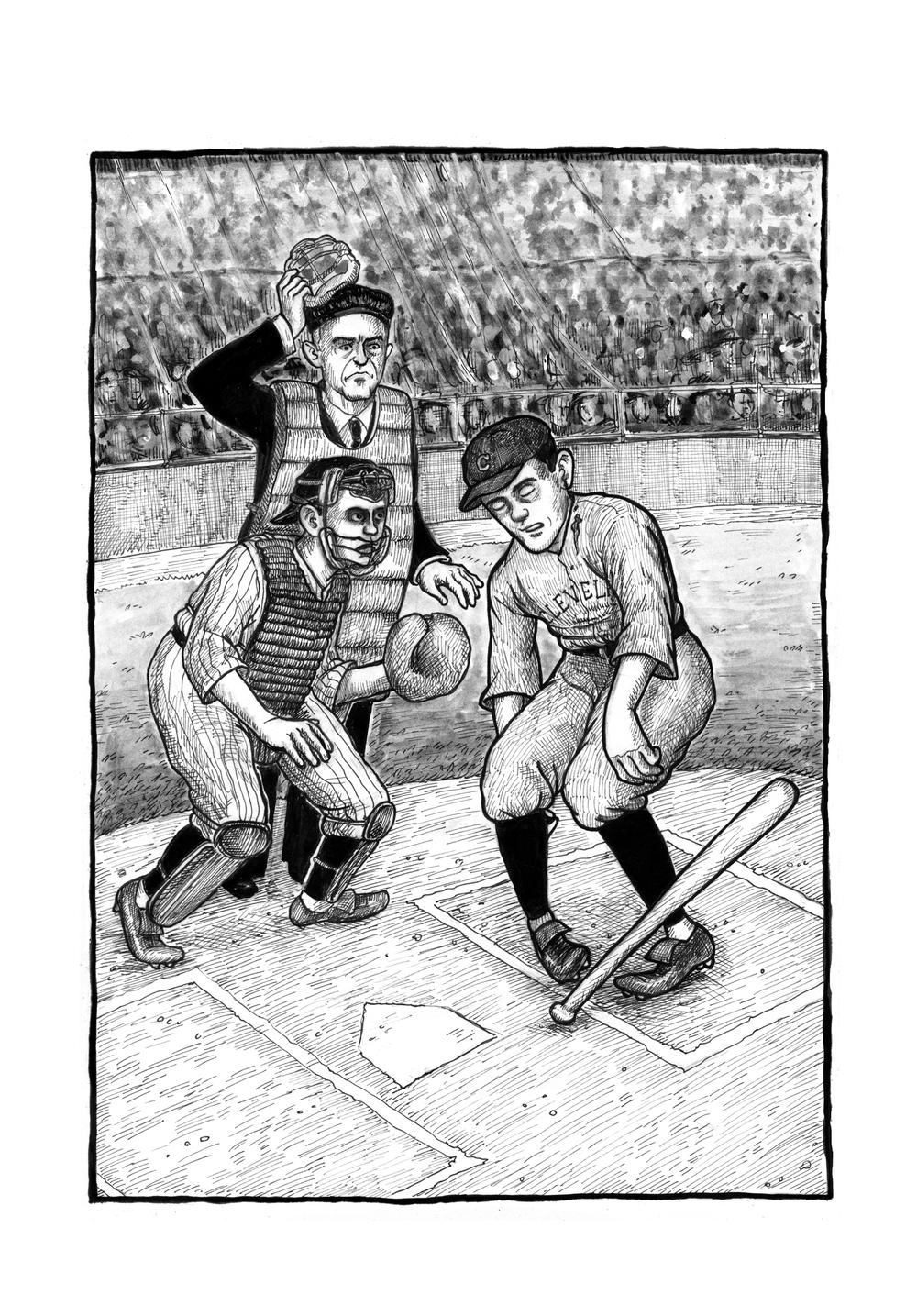 An illustration from Molly Lawless' graphic novel, <em>Hit by Pitch</em>.