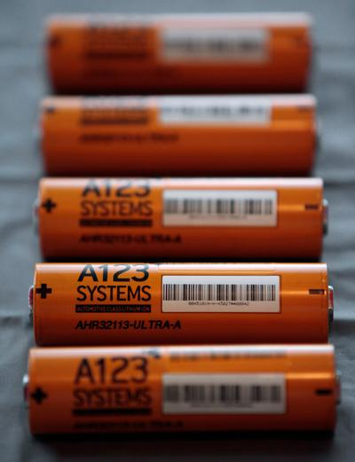 This Aug. 6, 2009, file photo shows A123 Systems Inc.'s high power Nanophospate Lithium Ion Cell for Hybrid Electric Vehicles batteries in Livonia, Mich. (Paul Sancya/AP, File)