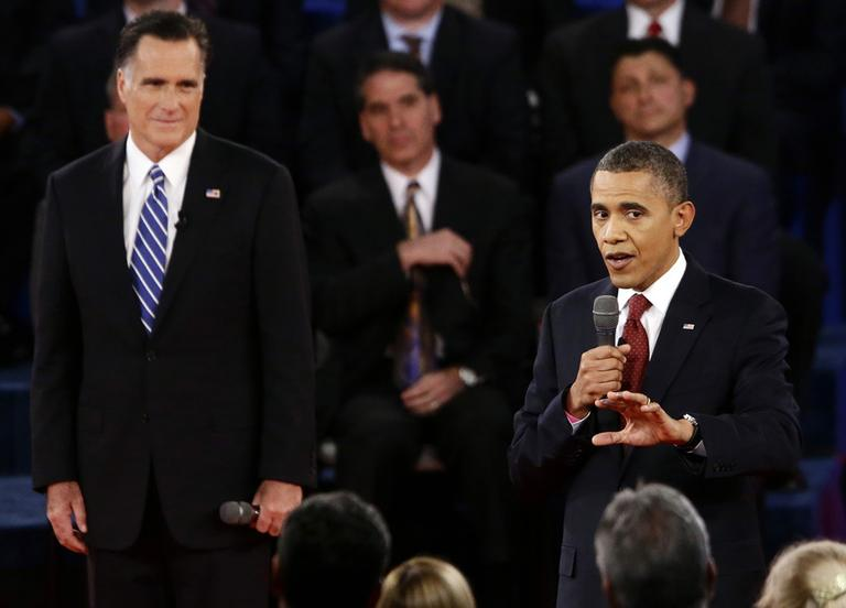 President Obama and Republican presidential candidate Mitt Romney participate in the second presidential debate at Hofstra University in Hempstead, N.Y. on Tuesday. (Charles Dharapak/AP)