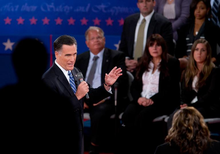 Republican candidate Mitt Romney participates in the presidential debate Tuesday at Hofstra University in Hempstead, N.Y. (Carolyn Kaster/AP)