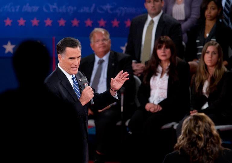 Republican candidate Mitt Romney participates in the presidential debate Tuesday at Hofstra University in Hempstead, N.Y. (Carolyn Kaster/AP)