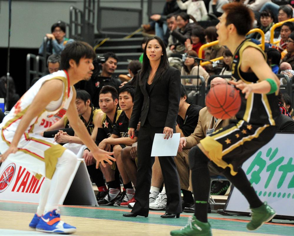 Natalie Nakase coaches the Saitama Broncos in Japan in January 2012. The former player now works as a video intern for the L.A. Clippers and wants to eventually coach in the NBA. (AP)