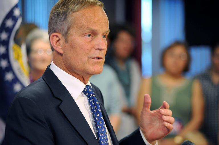 Republican U.S. Rep. Todd Akin of Missouri addresses the media in August, confirming his plans to remain in Missouri's U.S. Senate race despite a political uproar over remarks he made about rape and pregnancy. (AP/Sid Hastings)