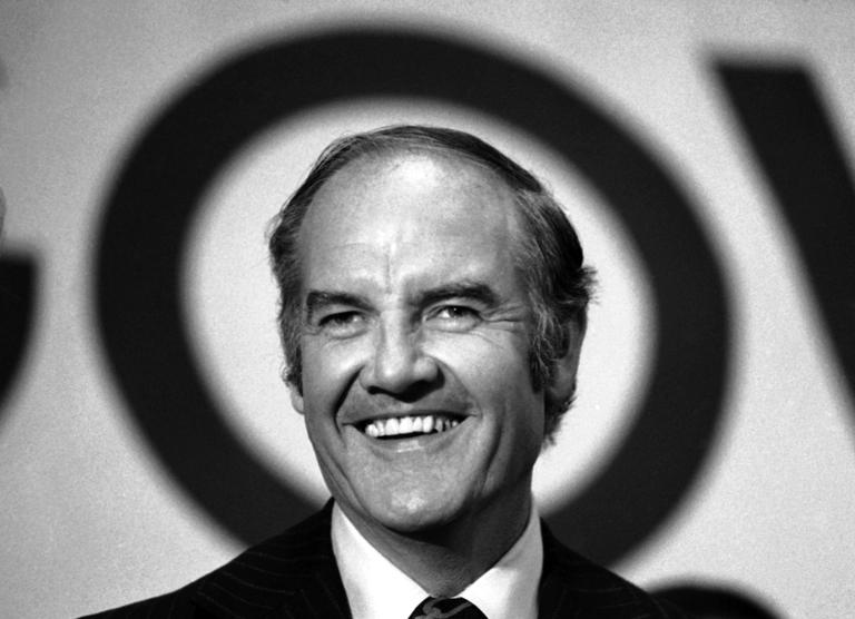 Sen. George McGovern speaks at the National Maritime Union Hall in New York in October 1972. A family spokesman said he passed away peacefully, surrounded by family and life-long friends, early Sunday morning. He was 90. (AP/Bob Daugherty)