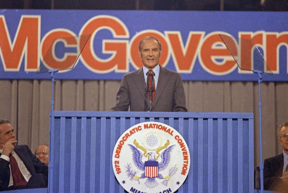 Sen. George McGovern (D-SD), speaks in Miami at the Democratic National Convention, July 1972. (AP)