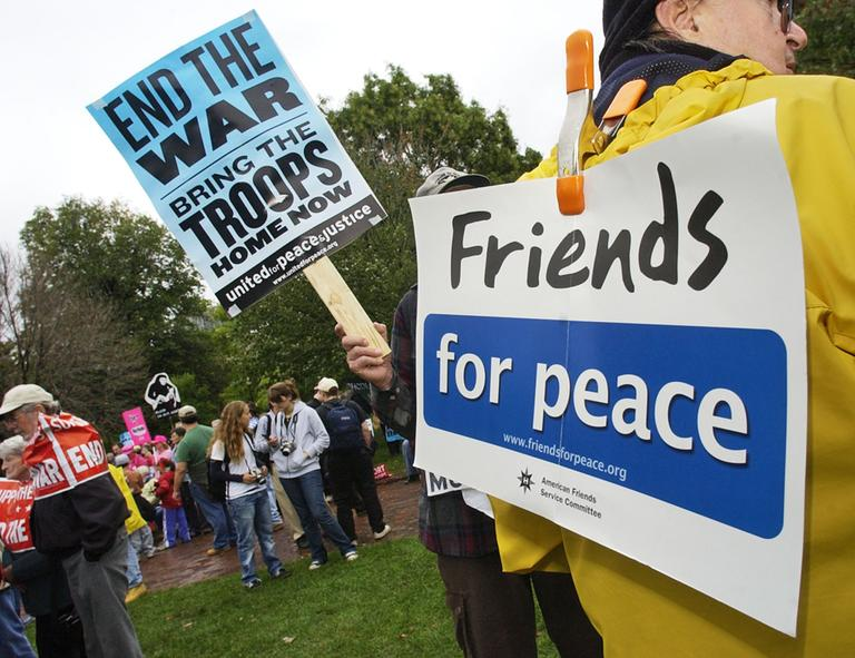 """Anti-war demonstrators gather at Boston Common for a rally to protest the war in Iraq in 2007. United for Justice with Peace is among those groups labeled as """"extremist"""" in BPD documents obtained by the ALCU. (Lisa Poole/AP)"""