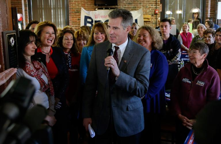 U.S. Sen. Scott Brown speaks during a campaign event at Stachey's Pizza in North Andover Monday. (Elise Amendola/AP)