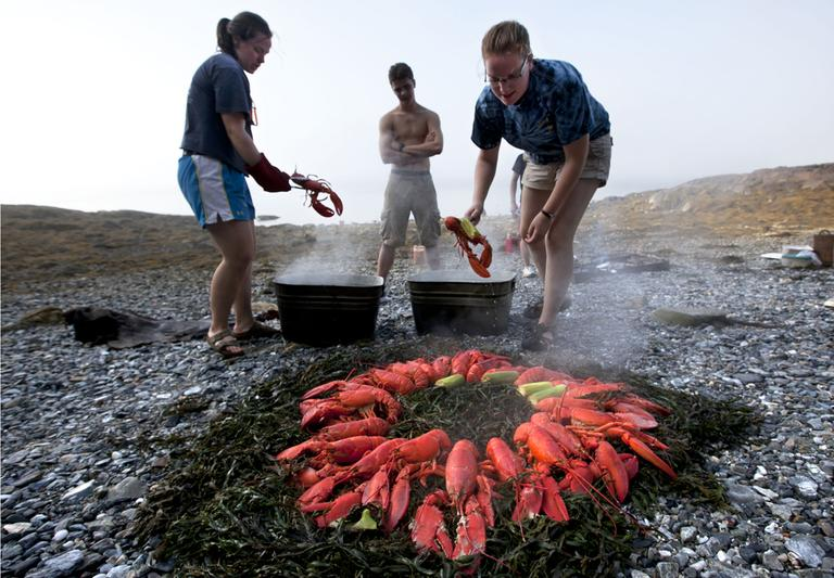 In this photo made Thursday, August 2, 2012, Maggy Mulhern, left, and Katharine Mead, prepare a lobster bake for dinner on the shore of a small island in Penobscot Bay Maine. (AP)
