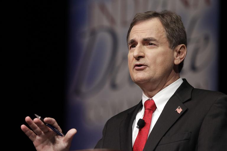 Republican Richard Mourdock, candidate for Indiana's U.S. Senate seat, participates in a debate with Democrat Joe Donnelly and Libertarian Andrew Horning on Tuesday. (AP/Michael Conroy)