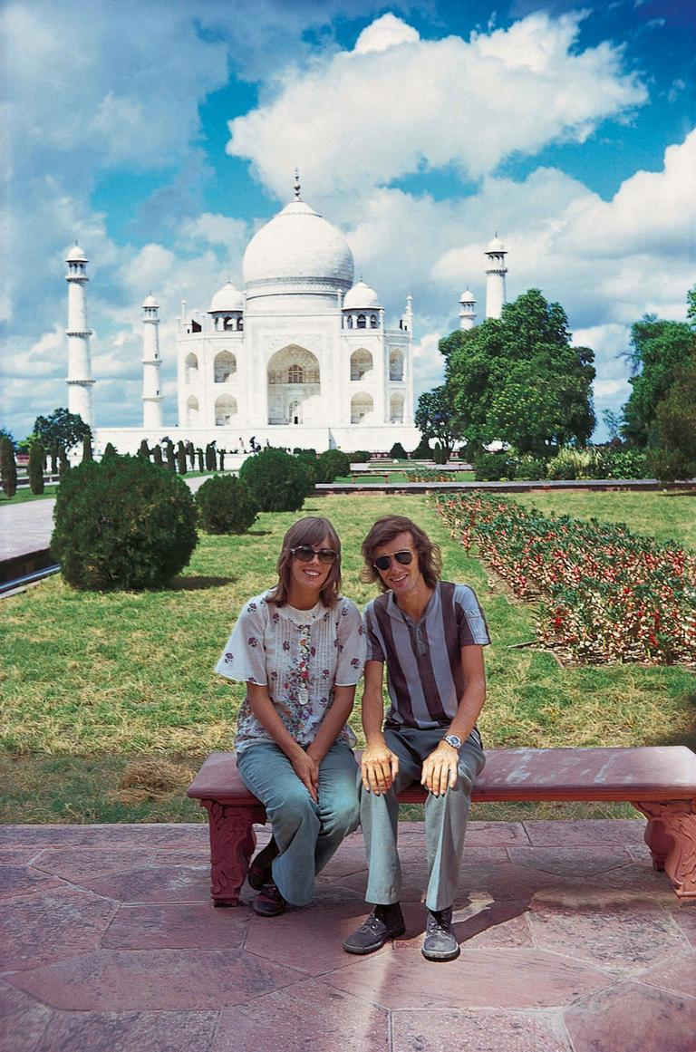 In October 1972, Lonely Planet founders Maureen, left, and Tony Wheeler celebrate their first wedding anniversary in front of the Taj Mahal in India. (AP/Tuttle Publishing)