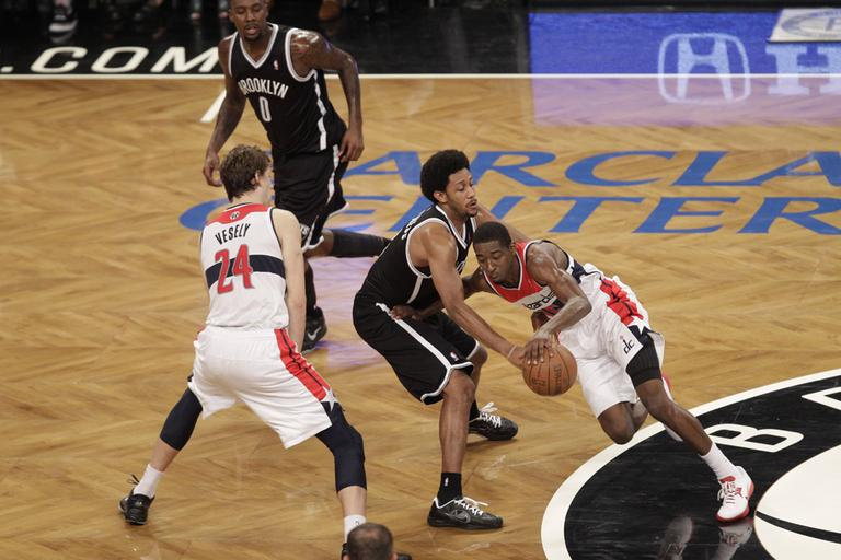 The Brooklyn Nets and Washington Wizards play an NBA preseason basketball game at the Barclays Center in Brooklyn last week. (AP/Kathy Willens)