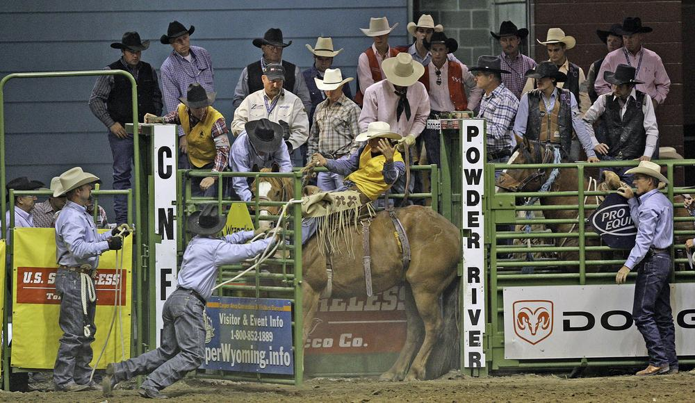 Roy Johnson of Quincy, Calif., prepares to compete in the College National Finals Rodeo in Casper, Wyo. in 2008. (AP/Andy Carpenean)