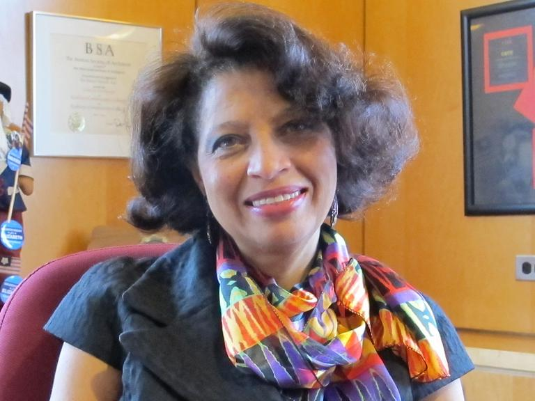 Linda Turner, RCC's interim president (Monica Brady-Myerov/WBUR)