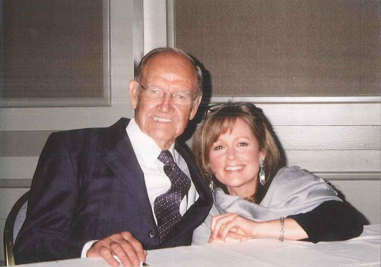 George McGovern and Here & Now's Robin Young at a fundraiser for the Pine Street Inn homeless shelter in Boston.