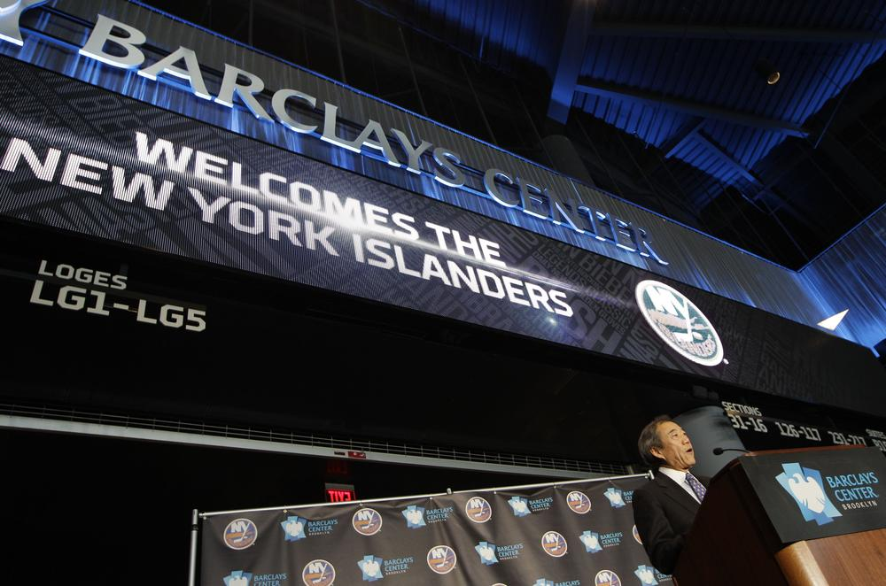 New York Islanders owner Charles Wang speaks at a press conference in New York. Wang announced that the Islanders hockey team would move to Brooklyn's Barclays Center starting in 2015. (Kathy Willens/AP)