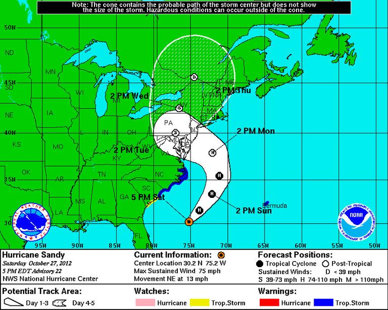 CLICK TO ENLARGE: The predicted path of Hurricane Sandy as of 5 p.m. Saturday. (National Hurricane Center, National Weather Service)