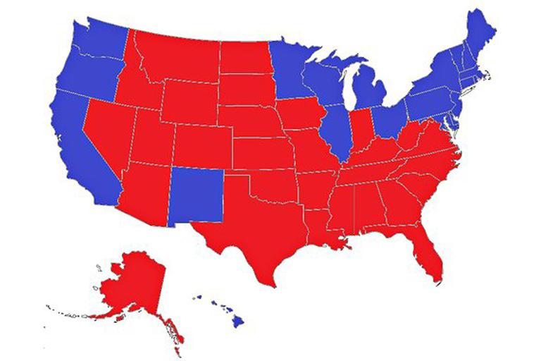 This map shows one of several possible scenarios that would result in a tie of the Electoral College.