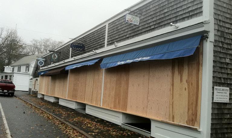 Boarded-up stores in Chatham Monday (Rachel Gotbaum/WBUR)