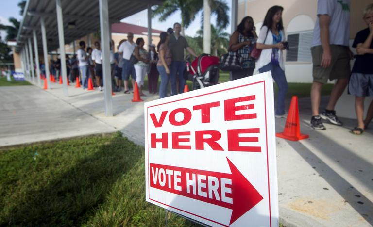 People stand in line to vote early on Sunday in Pembroke Pines, Fla. (AP/J Pat Carter)