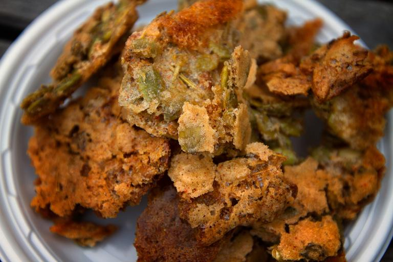 Chef Kathy Gunst's pumpkin seed, rosemary and bacon brittle. (Jesse Costa/WBUR)