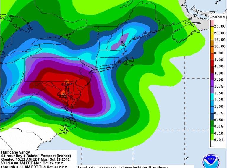 Sandy rainfall forecast (NOAA)