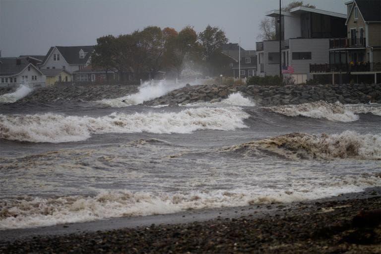 Revere Beach feels the effects of Hurricane Sandy Monday morning. (Jesse Costa/WBUR)