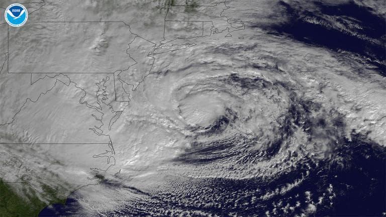 GOES -13 satellite image of Hurricane Sandy (NOAA)