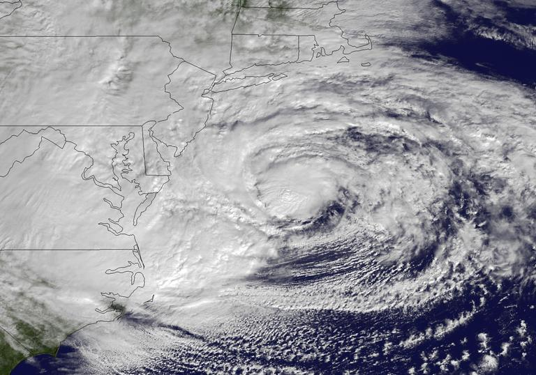 This NOAA satellite image taken on Monday shows Hurricane Sandy off the Mid Atlantic coastline moving north. (AP/NOAA)