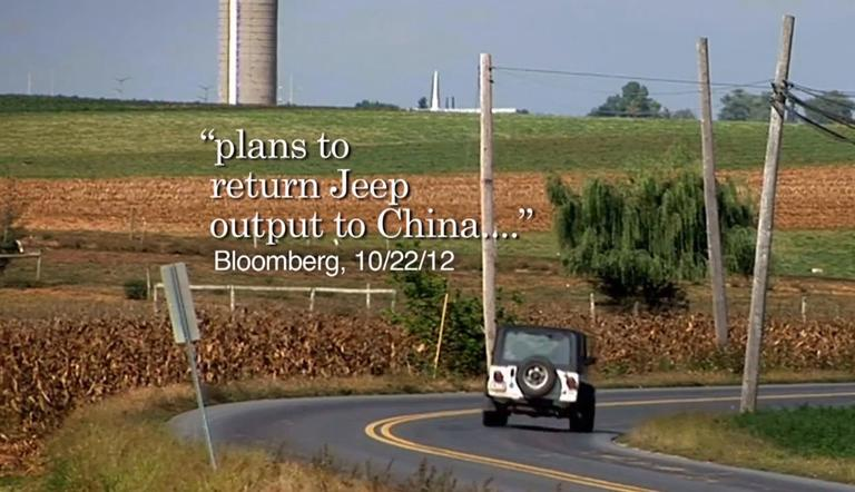 """A screen shot from the Romney campaign ad, claiming President Obama """"sold Chrysler to the Italians, who are going to build Jeeps in China."""" The ad has received a """"4 Pinocchios"""" rating from The Washington Post."""