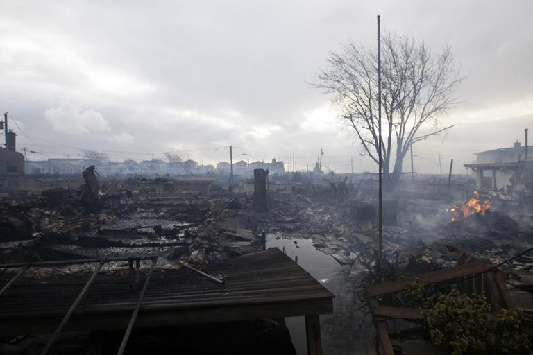 Damage caused by a fire at Breezy Point is shown Tuesday (Frank Franklin II/AP)