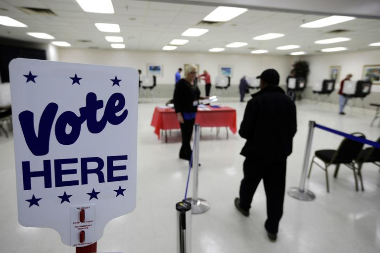 A voter heads in to cast his ballot during early voting in Salisbury, Maryland on Wednesday. (Alex Brandon/AP)