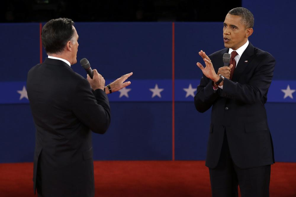 Republican presidential nominee Mitt Romney and President Barack Obama spar over energy policy during the second presidential debate at Hofstra University, Tuesday, Oct. 16, 2012, in Hempstead, N.Y. (AP)