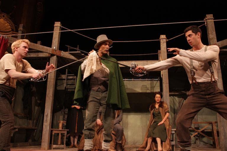 Hamlet (Michael Benz) and Laertes (Matthew Romain) cross swords. (Courtesy Shakespeare's Globe)