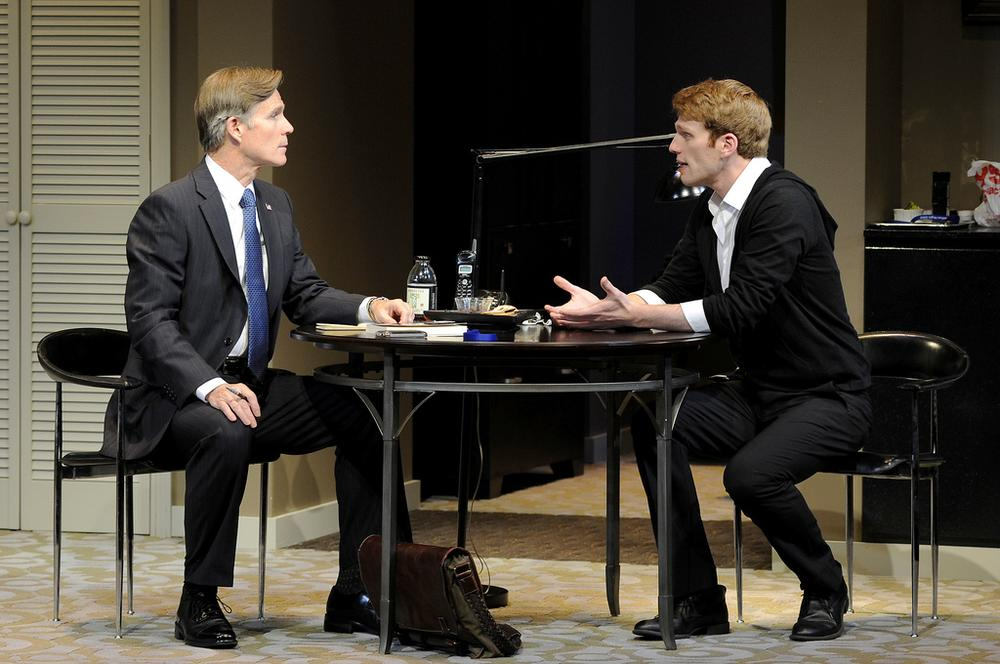 "Tom Nelis plays a presidential candidate grilling his son (Grant MacDermott) in the Huntington's ""Now or Later."" (Photo by Paul Marotta)"