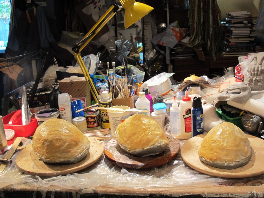 """The molds for three masks Bornstein was making for the Boston Lyric Opera's production of """"Madama Butterfly."""" (Andrea Shea/WBUR)"""