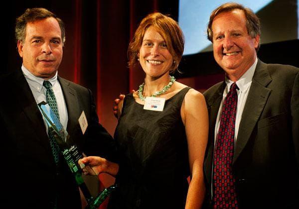 Grace Hood, winner of the 2012 Dan Schorr Prize with WBUR board member Jim Bildner and WBUR Program Director Sam Fleming. (Photo: WBUR)