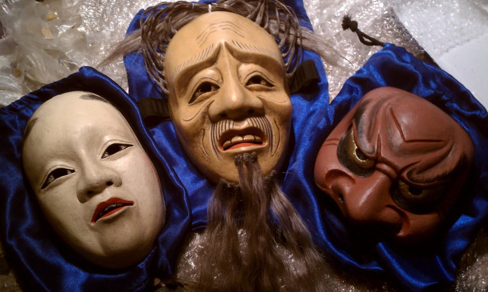 "The completed ""Madame Butterfly"" masks. (Andrea Shea/WBUR)"