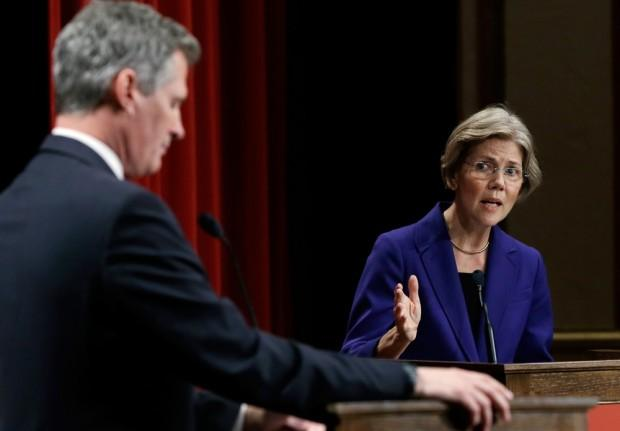 Democratic challenger Elizabeth Warren speaks during a debate with Republican incumbent Sen. Scott Brown in Springfield. (Elise Amendola/AP)