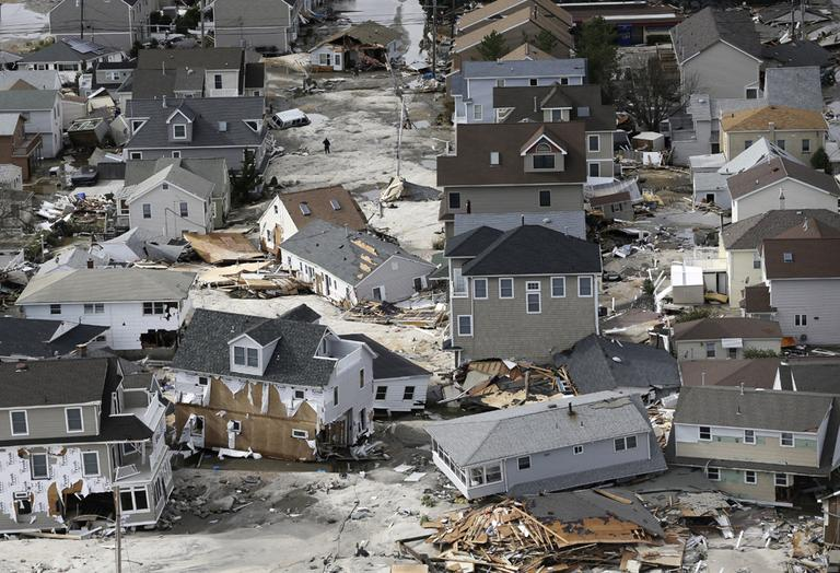 This aerial photo shows destruction in the wake of superstorm Sandy on Wednesday, October 31, in Seaside Heights, N.J. (Mike Groll, AP)