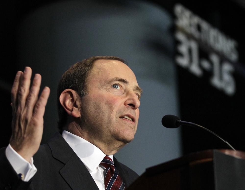 NHL Commissioner Gary Bettman speaks at a press conference in New York. Bettman is at odds with the NHL Players' Association over labor negotiations. (Kathy Willens/AP)