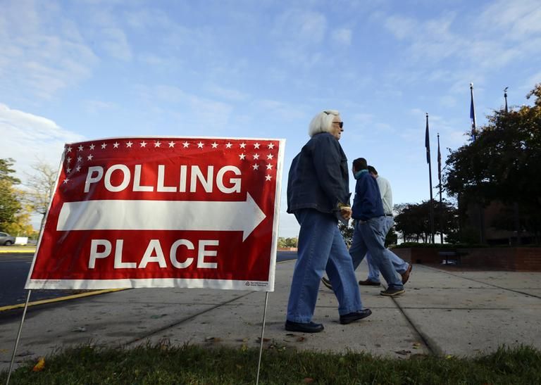 A voter arriving for early voting at a polling place at the Wicomico County Youth and Civic Center in Salisbury, Md. (Alex Brandon/AP)