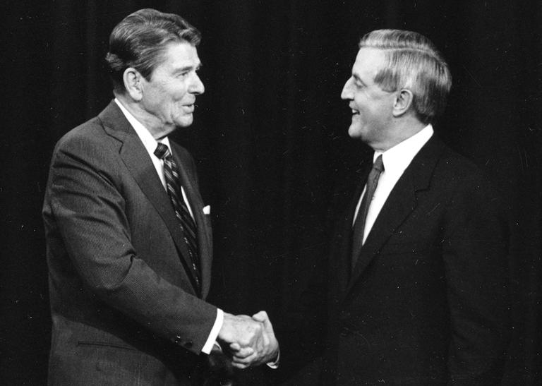 Ronald Reagan is among the six presidential candidates in history - all Republicans - who were elected when voting day fell on November 6th. In this photo, he shakes hands with Democratic challenger Walter Mondale, prior to their debate in Kansas City, Mo. in October 1984. (Ron Edmonds/AP)