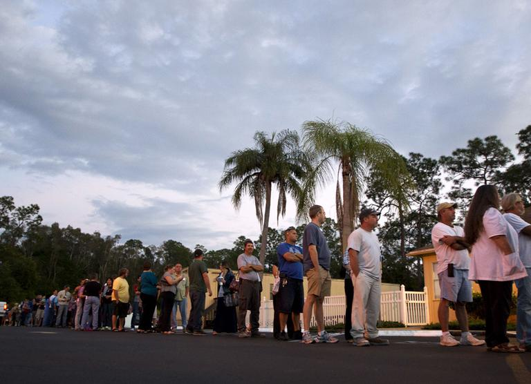 Voters stand in line at a Fort Myers, Fla. church late Tuesday, Nov. 6, 2012. (AP)