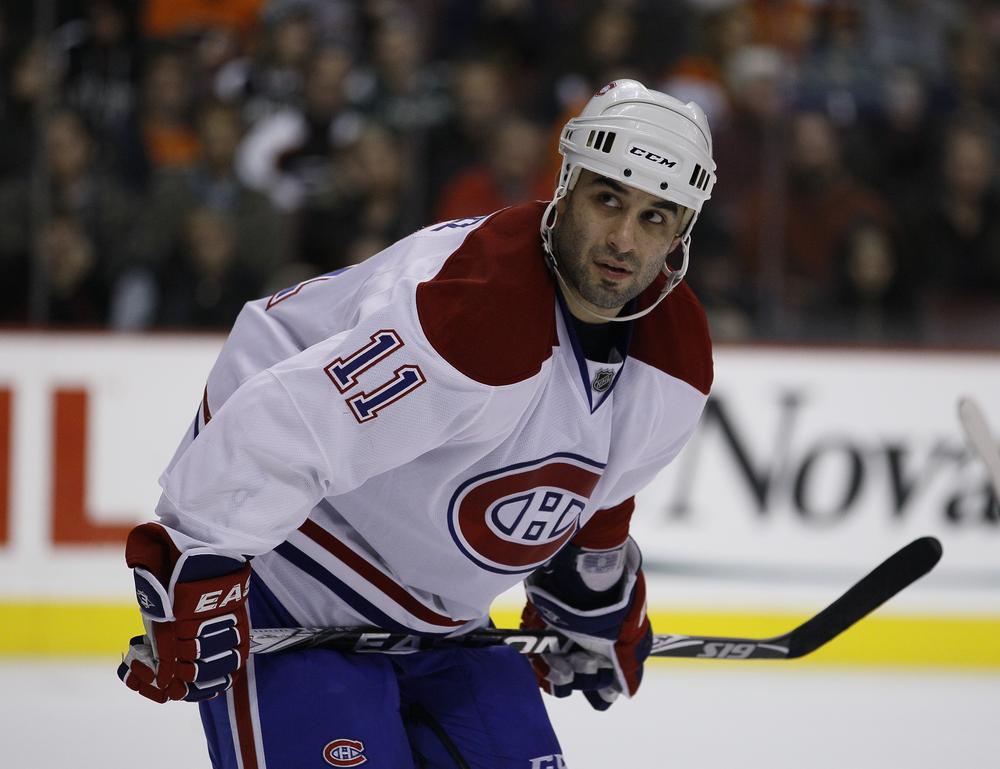 Montreal Canadiens player Scott Gomez during a game against the Philadelphia Flyers in 2010. Gomez is now playing for the Alaska Aces, an ECHL team. (Matt Slocum/AP)