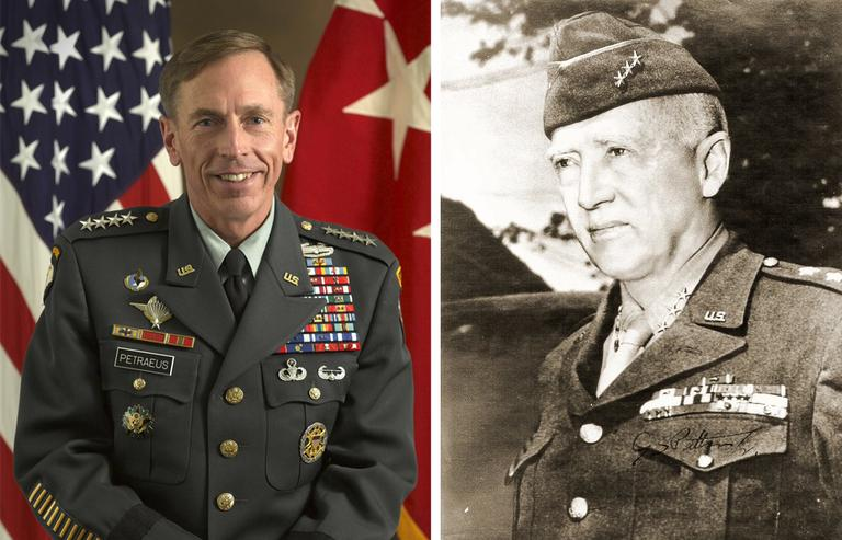 A 2011 photo of U.S. Army Gen. David H. Petraeus, left (U.S. Military), and an undated photo of George S. Patton as a lieutenant general (Wikimedia Commons).