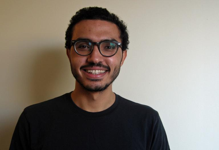 Ahmed Moor, a student at Harvard and member of the Palestinian Solidarity Coalition. (Kassandra Sundt/WBUR)
